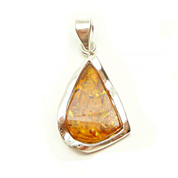 Exquisite Champagne Amber Pendant with silver .925