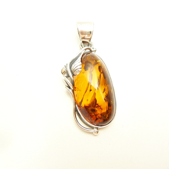 Beautiful  genuine amber pendant-sweet leaf