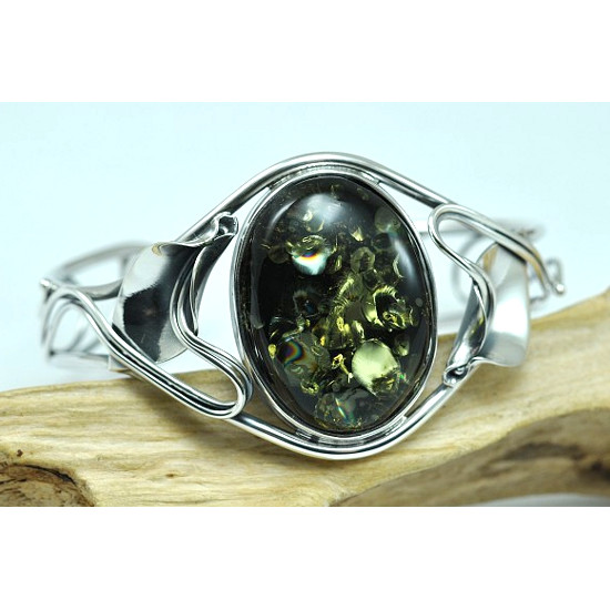 Unique Handmade leaf motifs BANGLE with genuine green amber