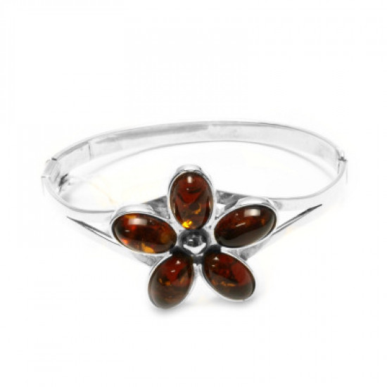 Flower Cognac Genuine Baltic Amber bracelet
