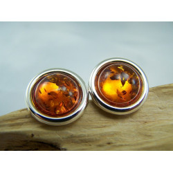 Round Cognac Amber and Silver Cufflinks