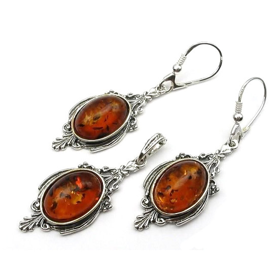 Vintage Style Cognac Amber Oval Earrings &Pendant Set