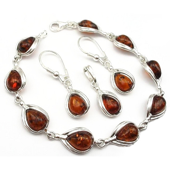 Cognac Amber Set of pendant,bracelet and earrings in sterling si