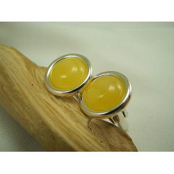 Round Milky Amber and Silver Oval Cufflinks