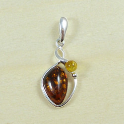 Beautiful cognac and yellow amber pendant -silver.925