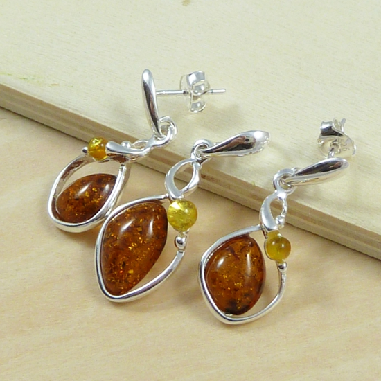 Cognac and yellow amber jewellery set- silver .925