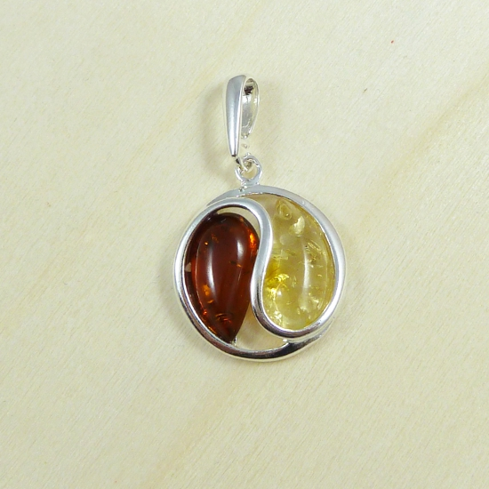 Art nouveau cognac and yellow amber pendant