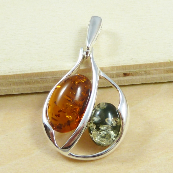 Green and Cognac Amber in Stylish Silver Pendant