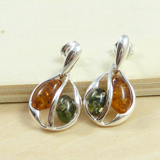 Green and Cognac Amber in Stylish Silver Earrings