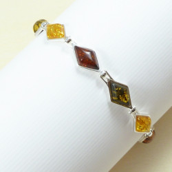 Diamonds Amber & Silver Bracelet - Cognac, green and yellow