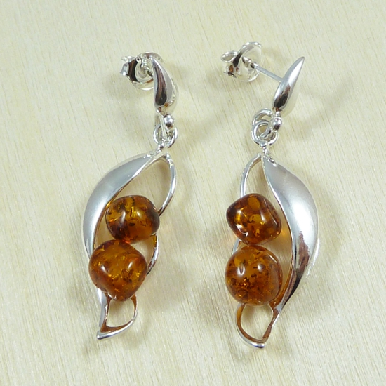 Modern design - unique cognac amber earrings & sterling silver
