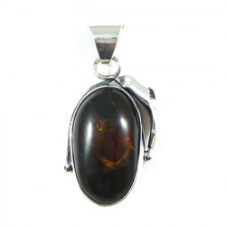 Cognac Baltic Amber Pendant with leaf design in sterling silver