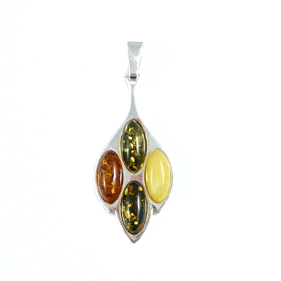 Honey, green and milky amber pendant - beautiful pendant