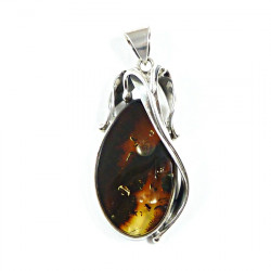 Excellent amber pendant in sterling silver .925