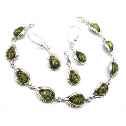 Green Amber Set of pendant,bracelet and earrings in sterling sil