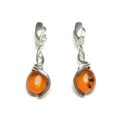 Natural cognac baltic amber earrings