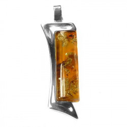 Sterling silver amber pendant-Handcrafted