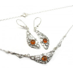 Vintage style cognac amber earrings and necklace set