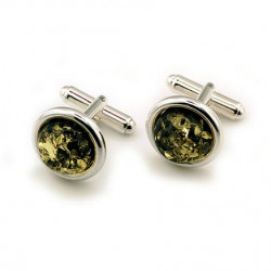Round Green Amber and Silver Oval Cufflinks
